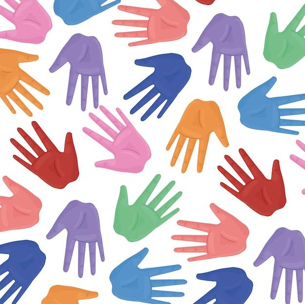 Международный плакат по правам человека с руками печатает цвета иллюстрации дизайн Premium векторы