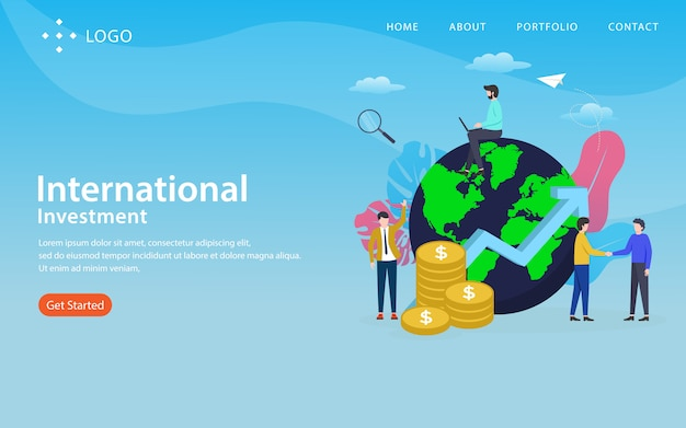 International investment landing page Premium Vector