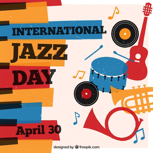 International jazz background with colorful musical instruments Free Vector