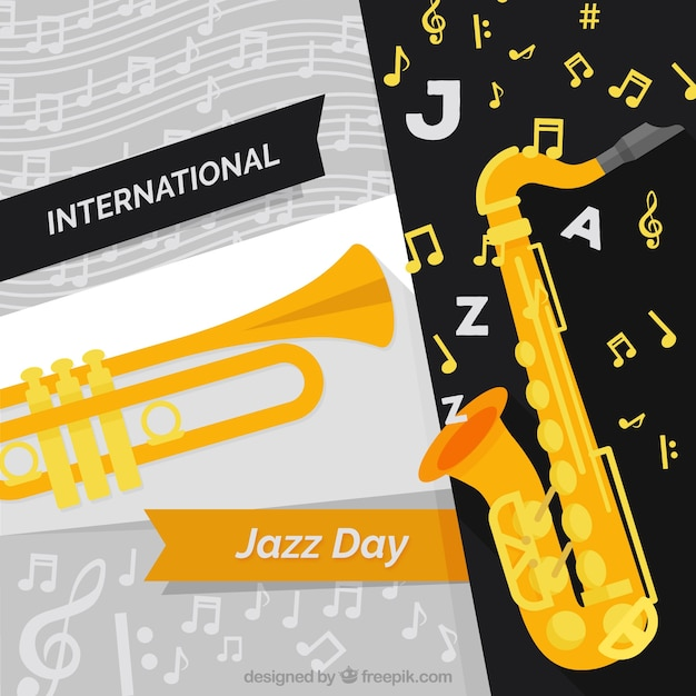 International jazz day background with musical instruments Free Vector