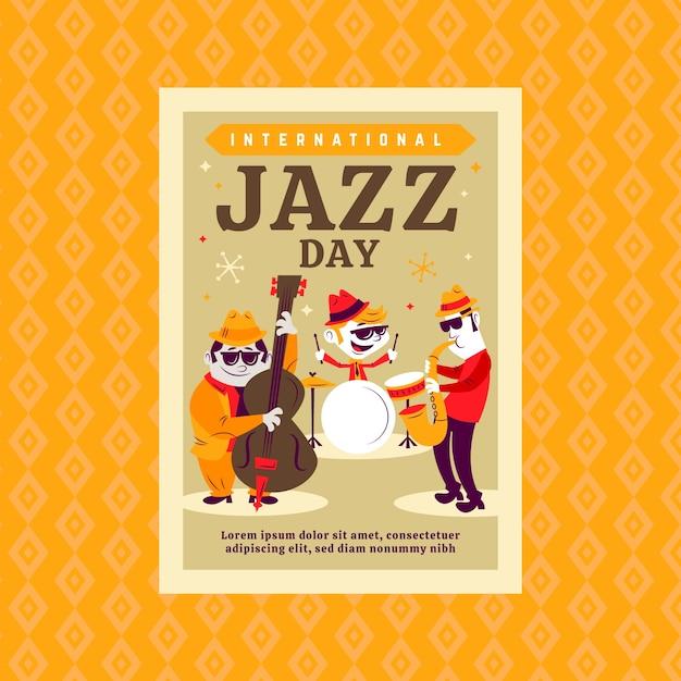 国際ジャズの日チラシテンプレートコンセプト 無料ベクター