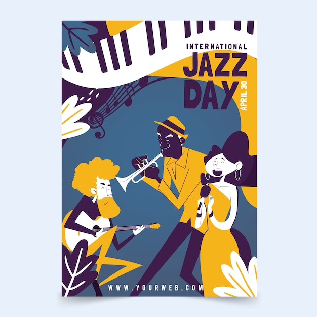 International jazz day flyer template in flat design Free Vector