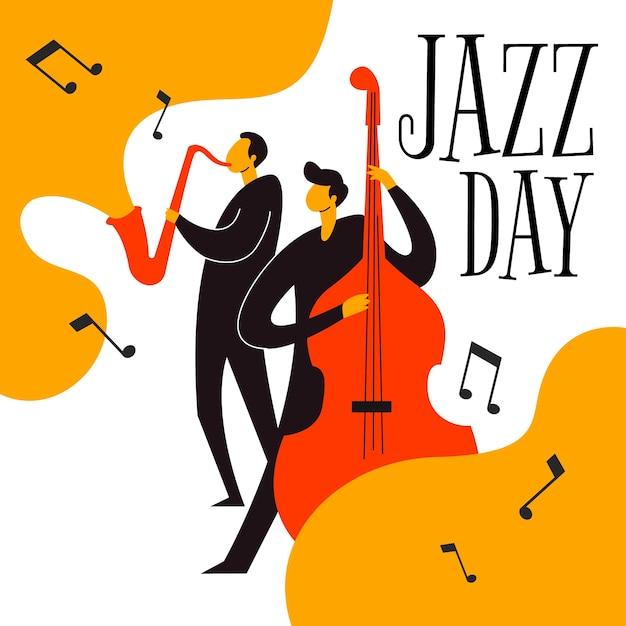 Международный день джаза рисованной Бесплатные векторы
