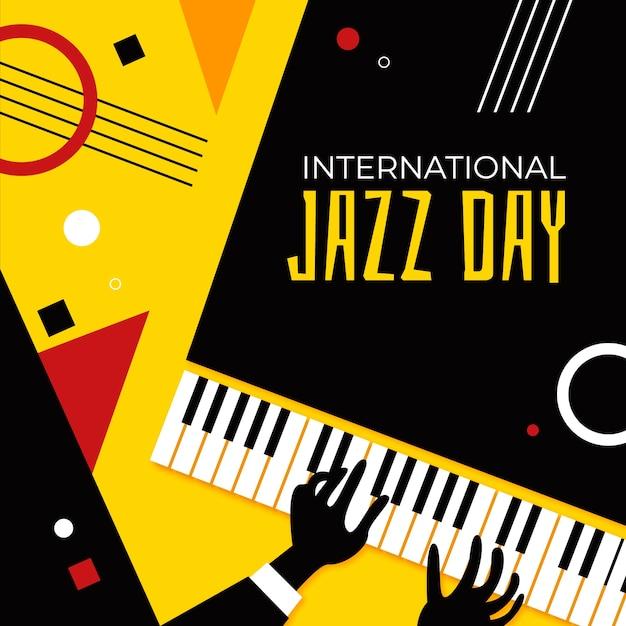 Международный день джаза с надписью Бесплатные векторы