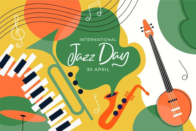 International jazz day illustration with musical instruments Free Vector
