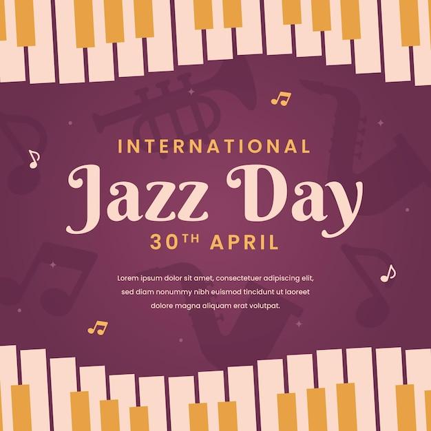 ピアノの鍵盤と国際ジャズデーのイラスト 無料ベクター