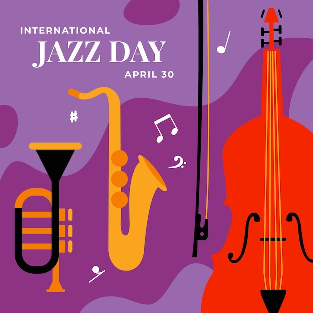 International jazz day illustration with saxophone and bass Free Vector