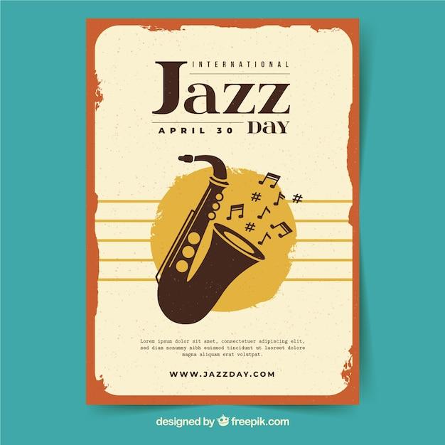 Международный джазовый плакат в стиле винтаж Бесплатные векторы