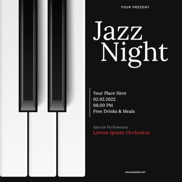 ピアノと国際ジャズデーのポスターテンプレート 無料ベクター