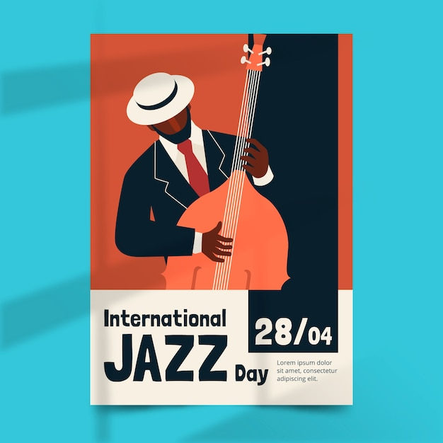 International jazz day poster template Free Vector
