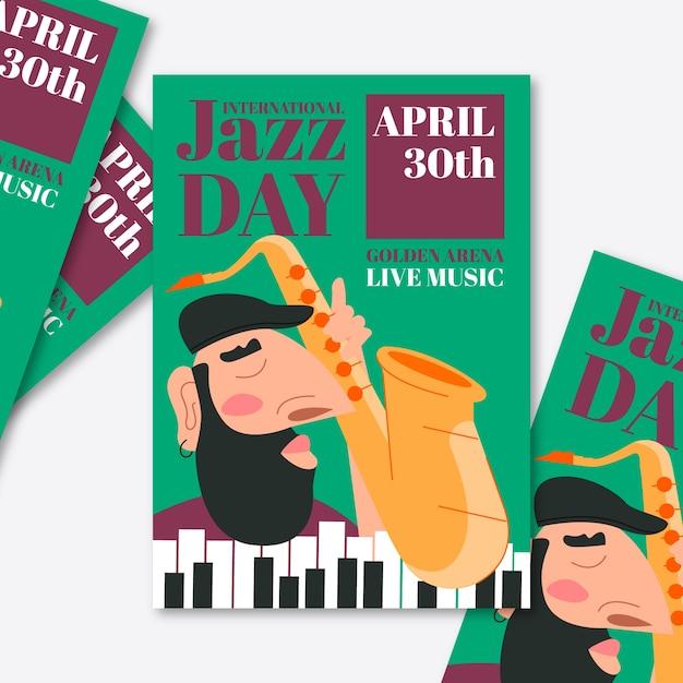 Шаблон плаката международного дня джаза Бесплатные векторы