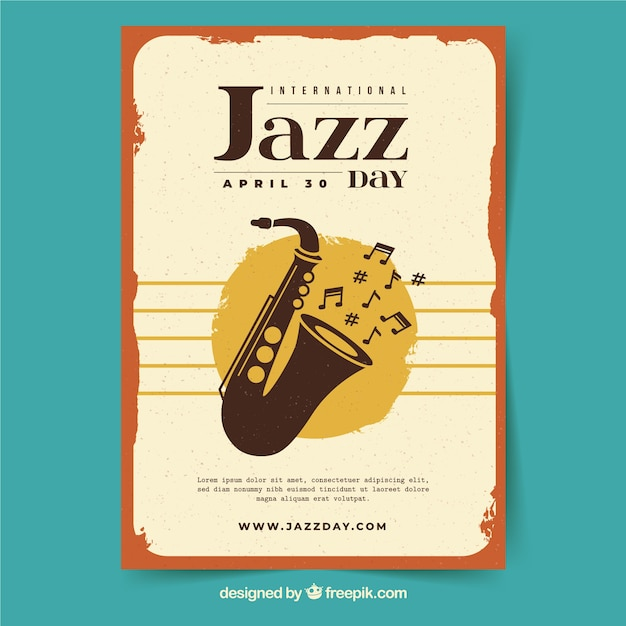 International jazz day poster in vintage style Free Vector