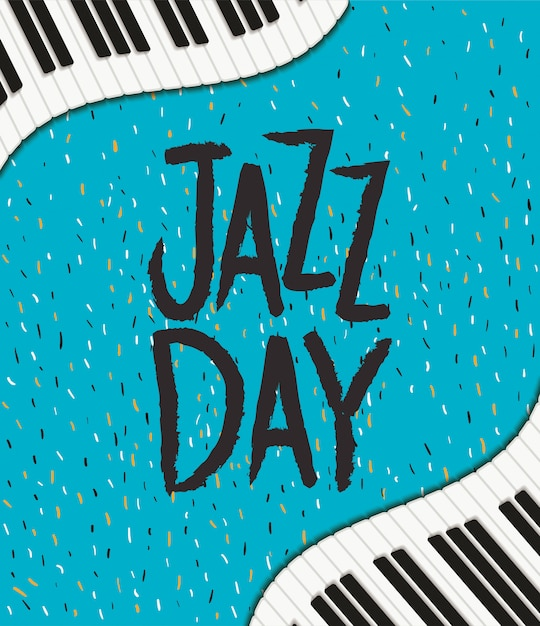 International jazz day poster with piano keyboard Premium Vector