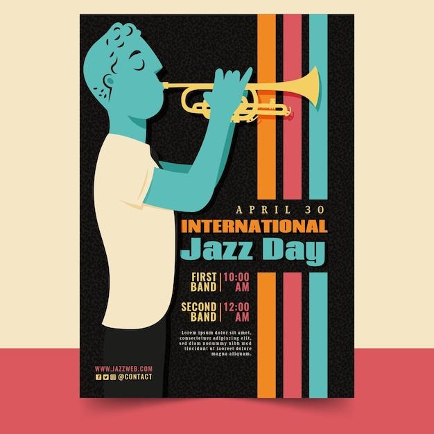 Шаблон вертикального плаката международного дня джаза с мужчиной и трубой Бесплатные векторы