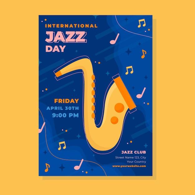 색소폰으로 국제 재즈 데이 세로 포스터 템플릿 무료 벡터