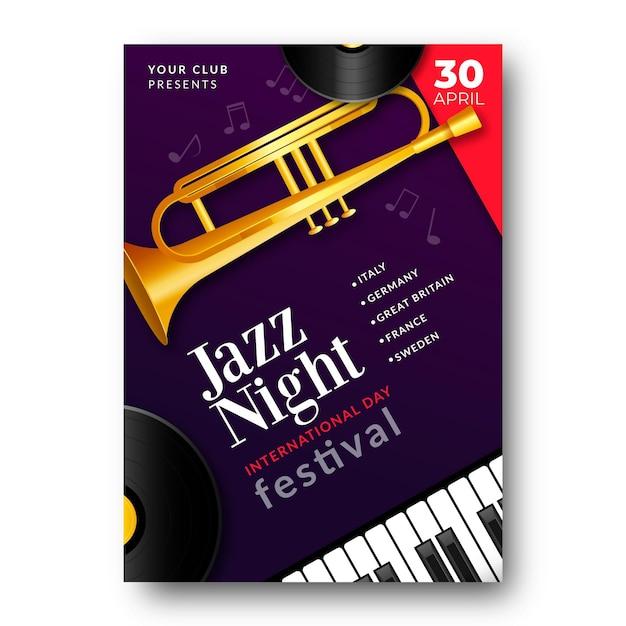 트럼펫과 피아노 키가있는 국제 재즈 데이 세로 포스터 템플릿 무료 벡터