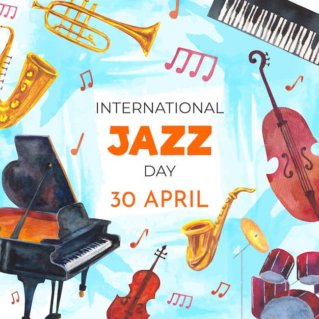 Международный день джаза, акварельный дизайн Бесплатные векторы