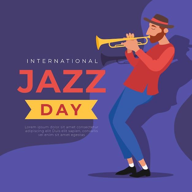 Giornata internazionale del jazz con uomo che suona la tromba Vettore gratuito