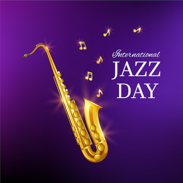 International jazz day with saxophone Free Vector