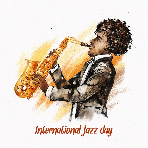 Международный день джаза с акварельным человечком, играющим на саксофоне Бесплатные векторы