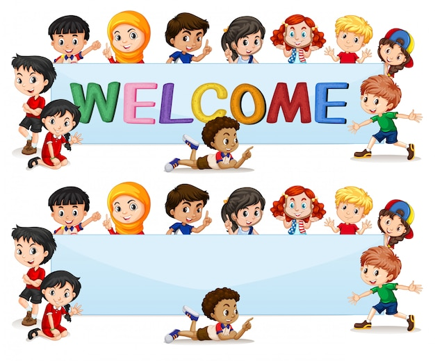 International kids on welcome lettering Free Vector