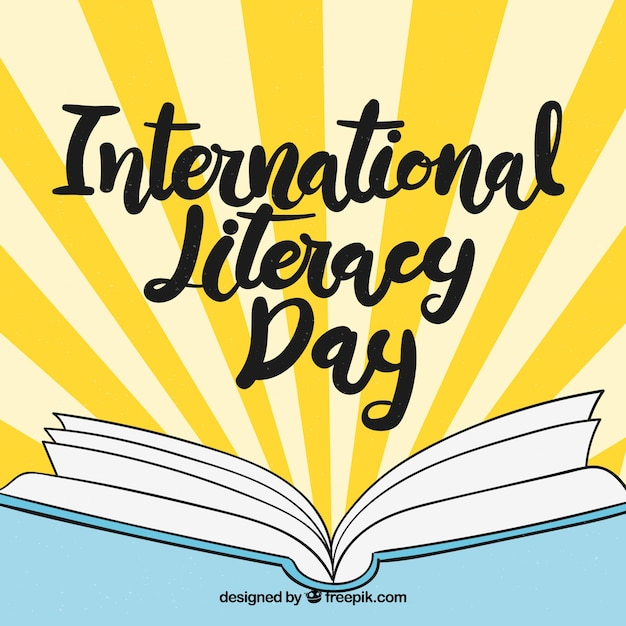International literacy day background with hand drawn open book Free Vector