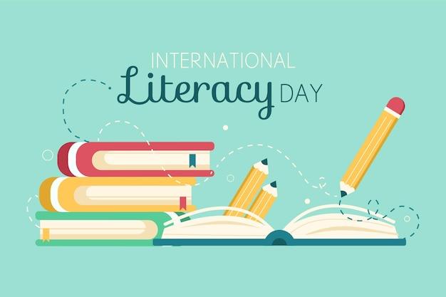 本と鉛筆を使った国際識字デー 無料ベクター