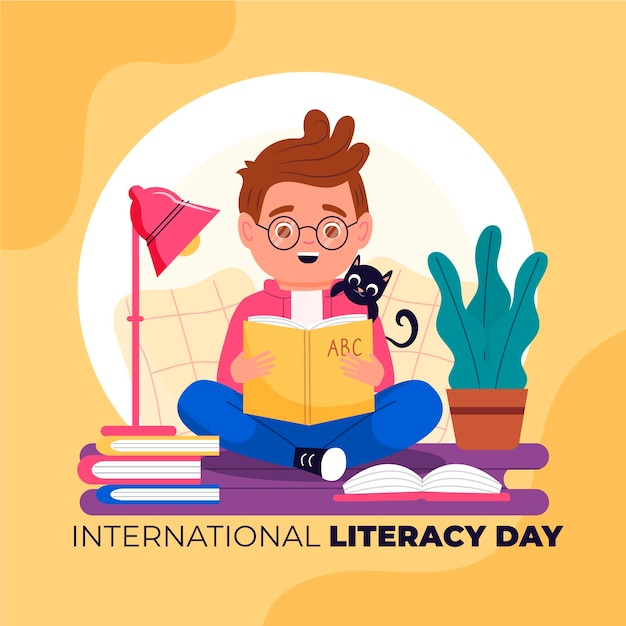 International literacy day with boy reading book Premium Vector