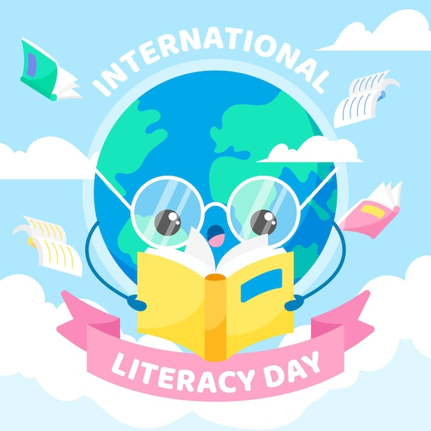 International literacy day with earth reading book Free Vector