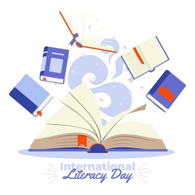Международный день грамотности с большим количеством книг Бесплатные векторы
