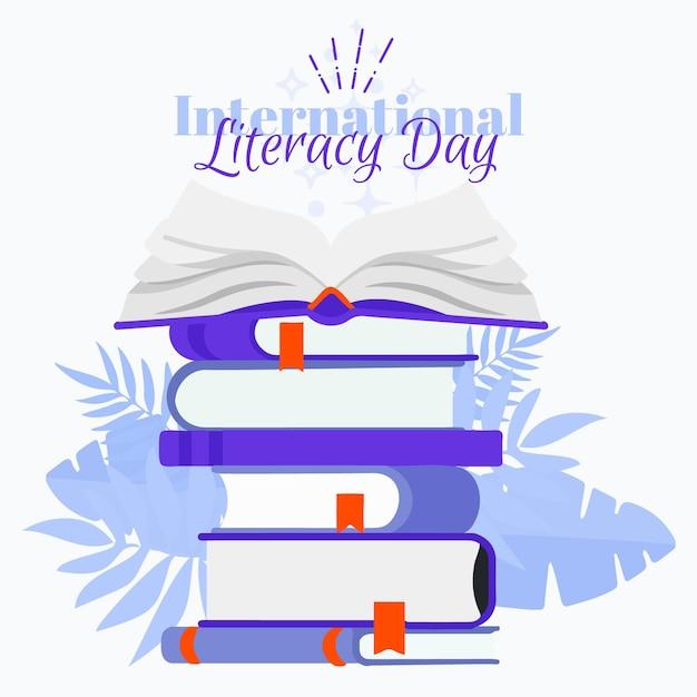 Международный день грамотности со стопкой книг Бесплатные векторы