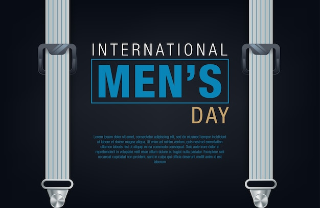 International men's day banner. men's day lettering Premium Vector
