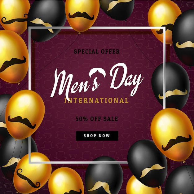 International men's day or father's day sale banner template Premium Vector