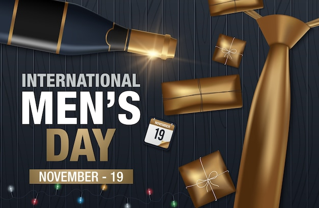 International men's day vector greeting card Premium Vector