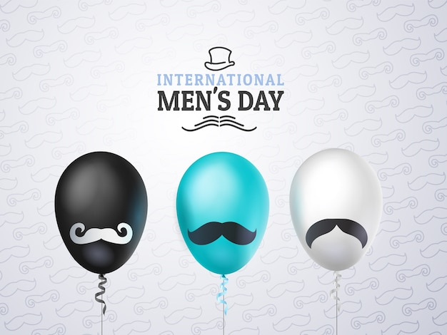 International mens day or father's day greeting card, balloons black, white, blue with mustache Premium Vector