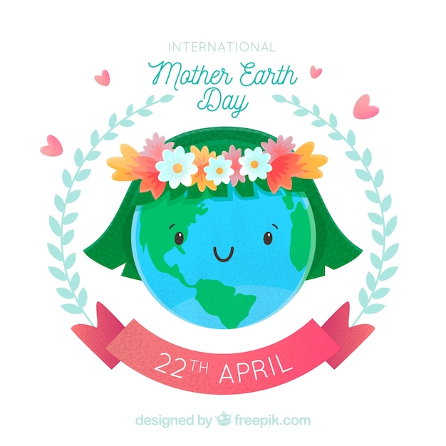 International mother earth day background with cute world Free Vector