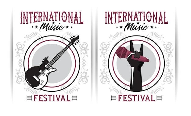 Афиша международного музыкального фестиваля с электрогитарой и ручным микрофоном Premium векторы