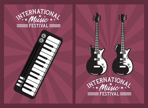 International music festival poster with electric guitars and piano Premium Vector