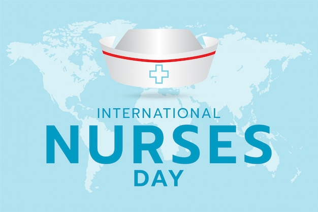 International nurse day, generated image nurse cap and text design on the world map and cyan background. Premium Vector