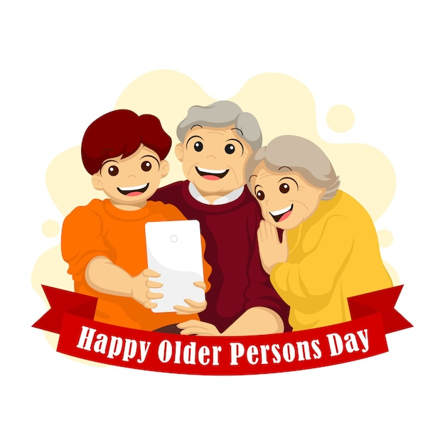 International of the older persons day. grandpa and grandma wefie with their grandson illustration Premium Vector