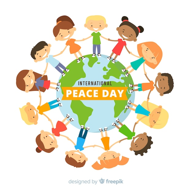 International peace day background with kids holding hands Free Vector