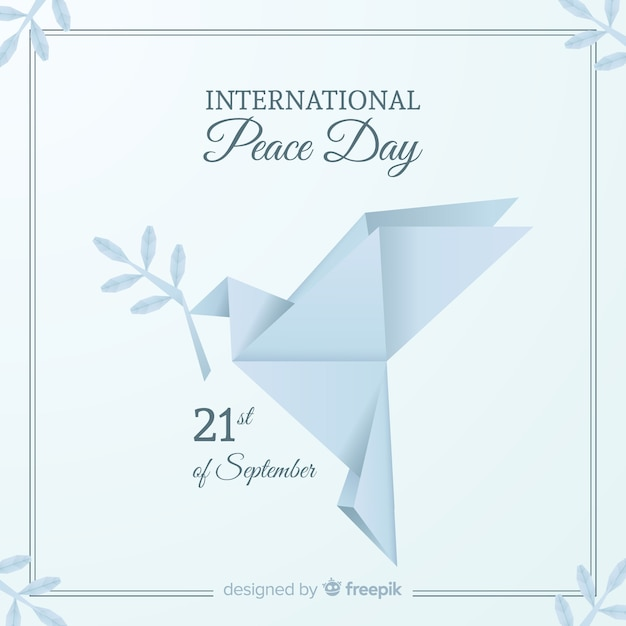 International peace day background with pigeons Free Vector