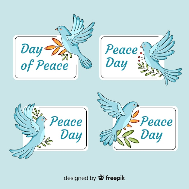 International peace day badge collection with doves Free Vector