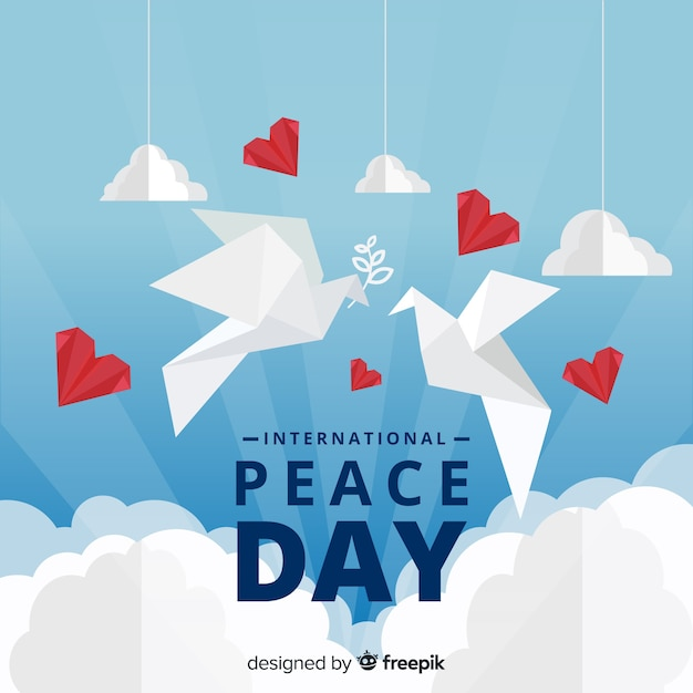 International peace day concept with white dove in origami style Free Vector