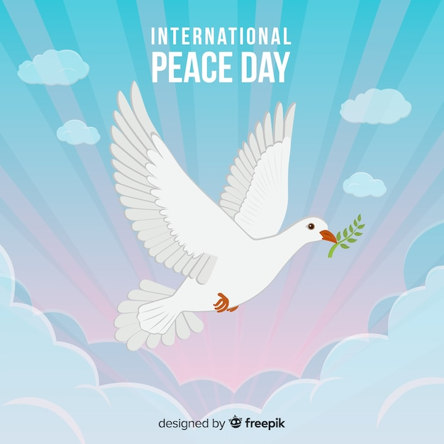 International peace day concept with white dove Free Vector