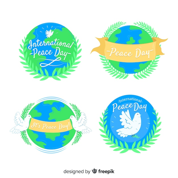 International peace day label with earth Free Vector