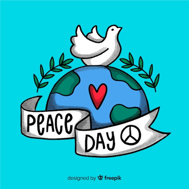 International peace day lettering Free Vector
