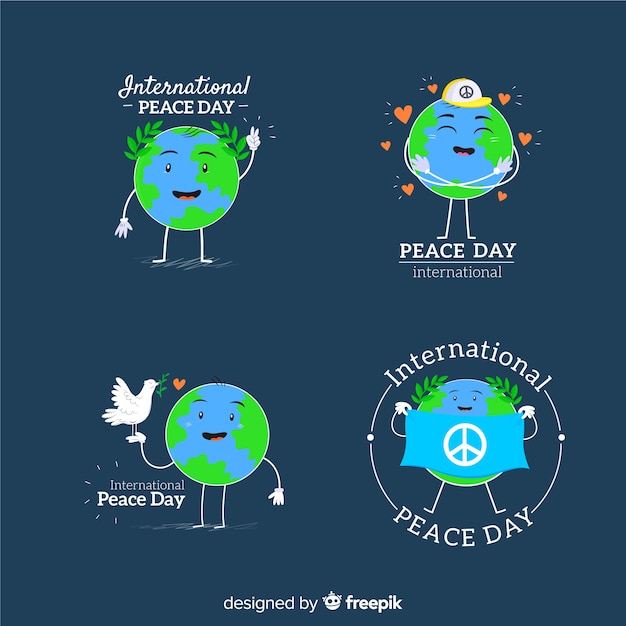 International peace day smiling earth Free Vector