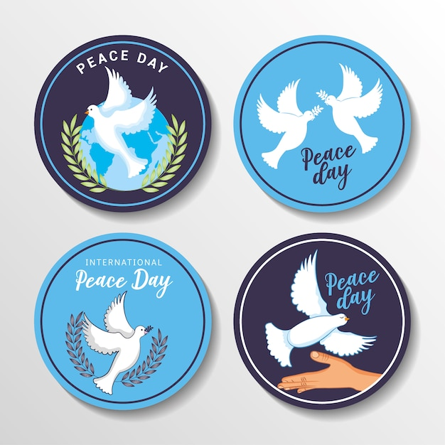 International peace day with dove cartoon Premium Vector