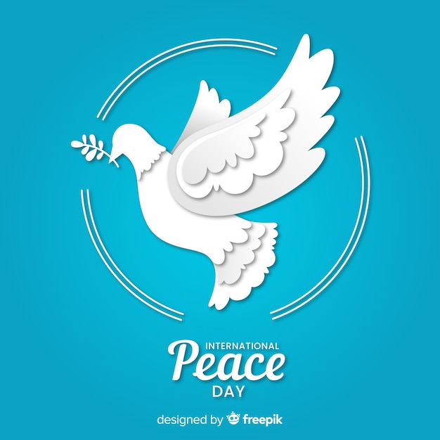 International peace day with paper dove Free Vector